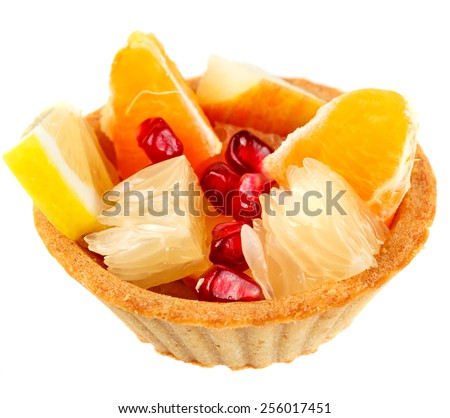 Tartlet with fruit. isolated