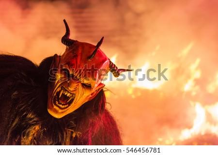 Tarvisio, Italy.  December 7 2016. The Krampus masks.