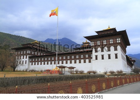 Tashichho Dzong is a Buddhist monastery and fortress on the northern edge of the city of Thimpu in Bhutan - stock photo