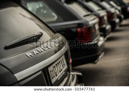 Tashkent, Uzbekistan - October 16, 2016: a lot, many Luxurious Land Rover Range Rover Sport SUV Parked on the Snow in a row