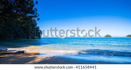Tasman Bay and Split Apple Rock - stock photo
