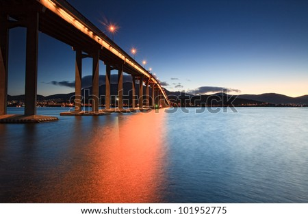 Tasman Bridge at sunset.