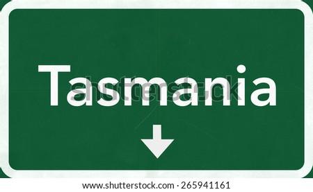Tasmania Australia Highway Road Sign - stock photo