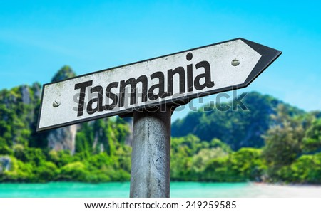 Tasmania sign with a beach on background - stock photo