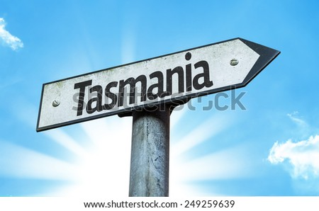 Tasmania sign with a beautiful day - stock photo