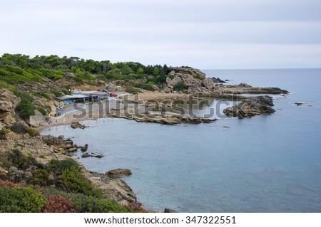 Tasos beach between Calithea Springs and Faliraki at the Rhodes Island, Greece. - stock photo