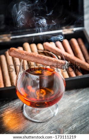 Taste and aroma of cognac and cigar - stock photo
