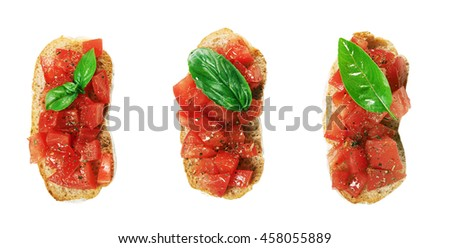 taste and fresh bruschettas isolated on white background. top view