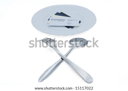 Taste new candidates! (business cards on plate, fork and spoon) - stock photo