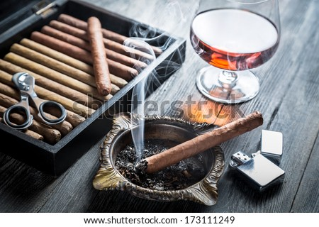 Taste of cognac and cigar fuming - stock photo