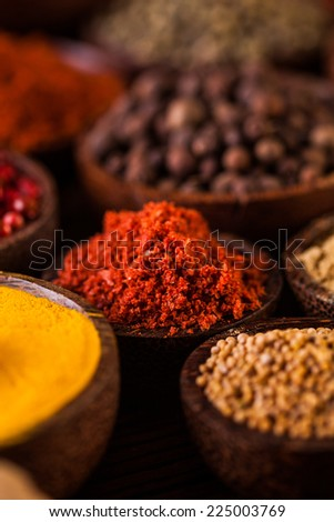 Taste of Indonesia, oriental theme with spices - stock photo