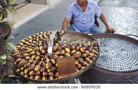 Tasteful roasted chestnuts for sale - Rome, Italy.