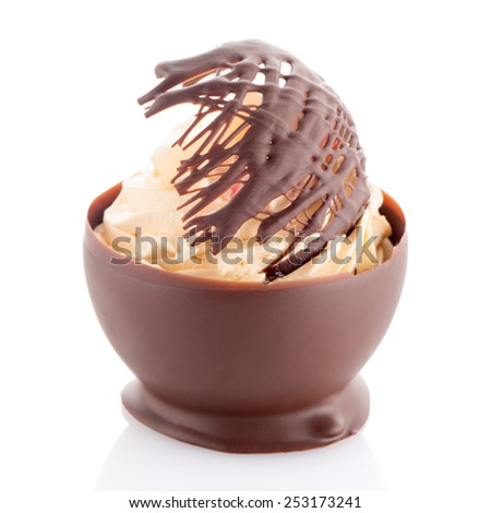 Tasteful strawberry and chocolate pastry mousse isolated on white background. - stock photo