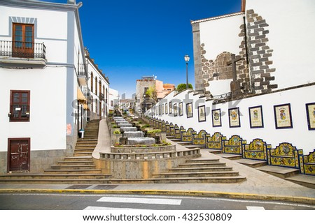 Tasteful waterfall cascade on Paseo de Gran Canaria in Firgas. Gran Canaria, Spain. - stock photo