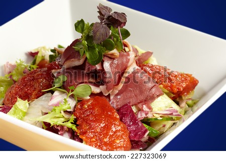 Tastefull fresh salad of smoked duck breast, lettuce and chutney - stock photo