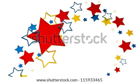 tastefully arranged metallic stars on white background as glory symbol