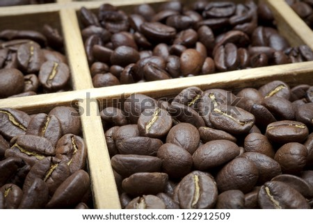 tasting coffee. Arabica Coffee, Brazilian Coffee, Coffee Kenya, Colombian Coffee, roasted coffee, Costa Rica Coffee, Ethiopian coffee, Coffee of Jamaica, Indonesian Coffee, - stock photo