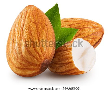 tasty almonds nuts isolated on white background  - stock photo