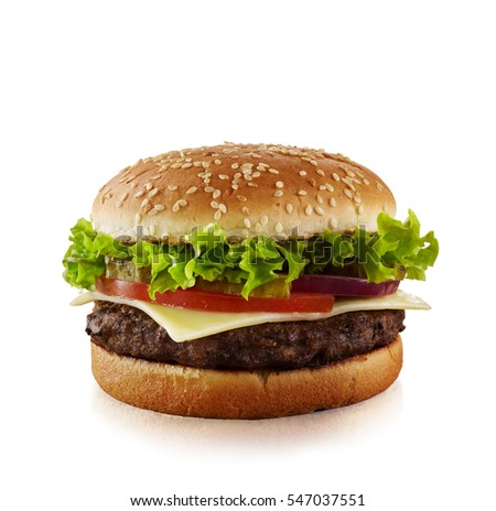 Tasty and appetizing Cheeseburger isolated on white