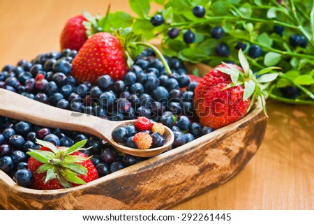 Tasty and healthy blueberries and strawberries