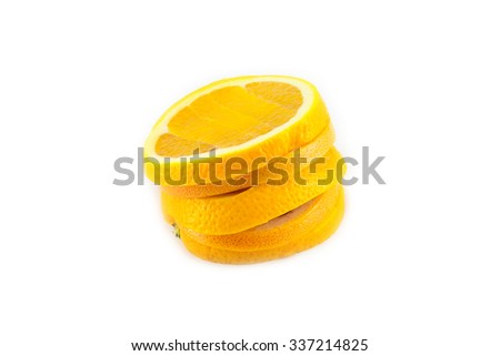 tasty and juicy chopped orange isolated on white