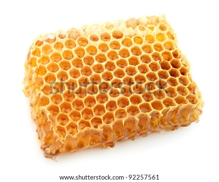 Tasty and useful honeycomb close up on the white - stock photo