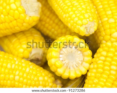 Tasty and warm freshly boiled corn - stock photo