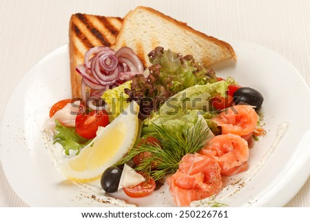 tasty appetizer with salmon - stock photo
