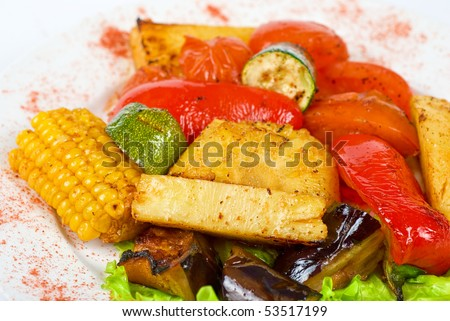 tasty assorted grilled vegetables gourmet food - stock photo