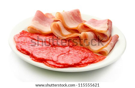 tasty bacon and sausage on plate, isolated on white