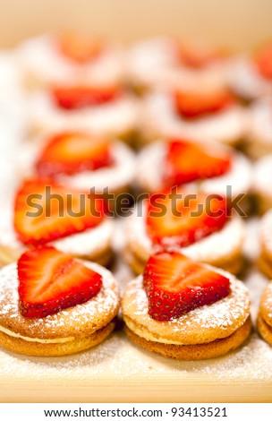 Tasty baking celebratory  dessert with strawberry - stock photo