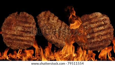 Tasty beef burgers close-up - stock photo