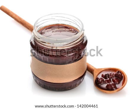 tasty berry jam, isolated on white