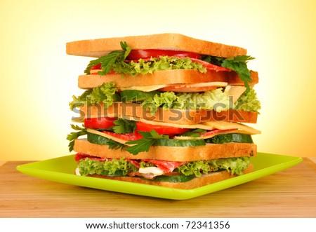 tasty big sandwich - stock photo