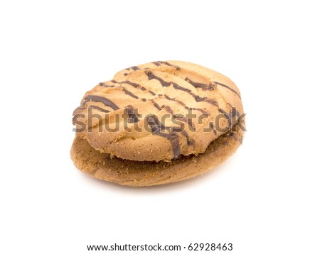 Tasty biscuit stuffed with jam on white background