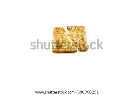 Tasty Biscuit Texture Closeup Details Isolated On White background                                  - stock photo