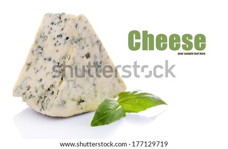 Tasty blue cheese with basil, isolated on white - stock photo