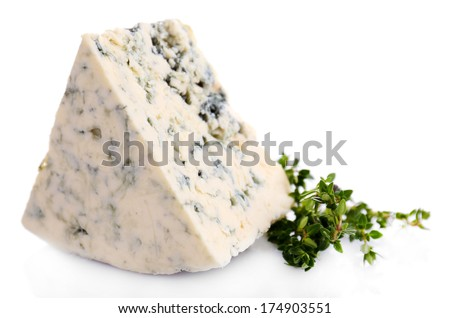Tasty blue cheese with thyme, isolated on white - stock photo
