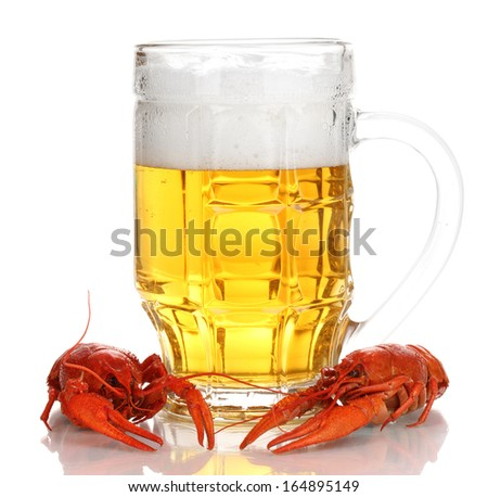 Tasty boiled crayfishes and beer isolated on white  - stock photo