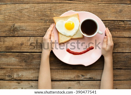 Tasty breakfast with love - stock photo