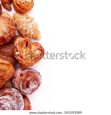 Tasty buns isolated on white background - stock photo