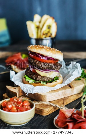 tasty burger - stock photo