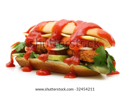 tasty burger with ketchup on white background - stock photo