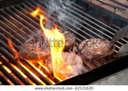 tasty burgers being cooked on a flaming barbecue - stock photo