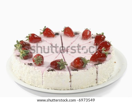 tasty cake with cream and with fresh strawberries