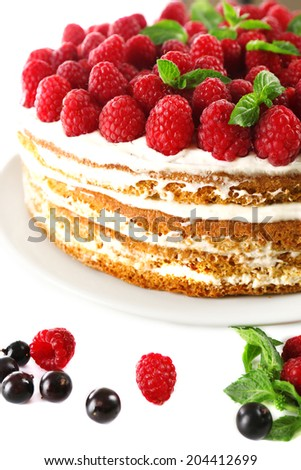 Tasty cake with fresh berries, close up