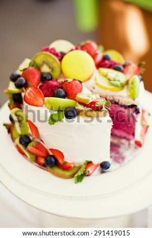 tasty cake with fruits and berries - stock photo