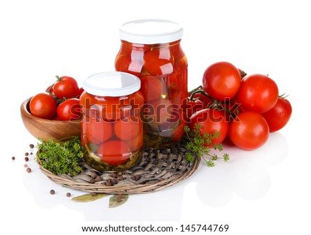 Tasty canned and fresh tomatoes, isolated on white