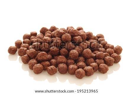 tasty cereal chocolate balls on a white background, isolated - stock photo