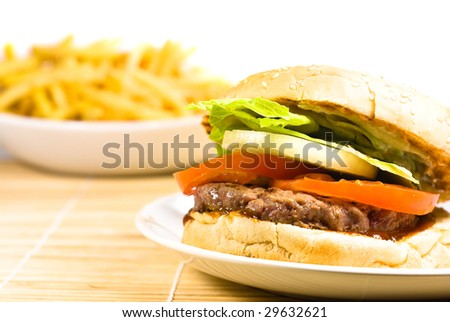 tasty cheese burger and french fries on a plate